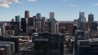 DX0001_001504 - 5.7K stock footage aerial video of the city's skyline in Downtown Denver, Colorado