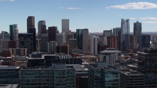 DX0001_001505 - 5.7K stock footage aerial video of the city's skyline seen from office buildings in Downtown Denver, Colorado