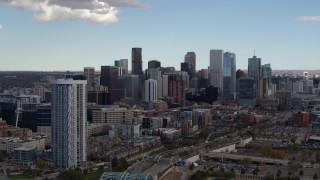 DX0001_001512 - 5.7K stock footage aerial video of the city skyline seen from near residential skyscraper in Downtown Denver, Colorado