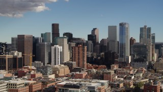 DX0001_001519 - 5.7K stock footage aerial video of a slow pass by the city skyline in Downtown Denver, Colorado