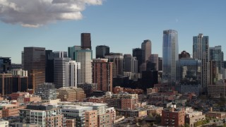 DX0001_001527 - 5.7K stock footage aerial video flyby towering skyscrapers of the city skyline in Downtown Denver, Colorado