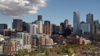 DX0001_001529 - 5.7K stock footage aerial video of towering skyscrapers of the city skyline, Downtown Denver, Colorado