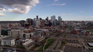 DX0001_001532 - 5.7K stock footage aerial video of the city skyline seen from north of the city, Downtown Denver, Colorado