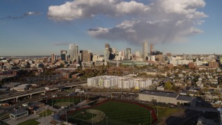 DX0001_001547 - 5.7K stock footage aerial video of flying by the city skyline, Downtown Denver, Colorado
