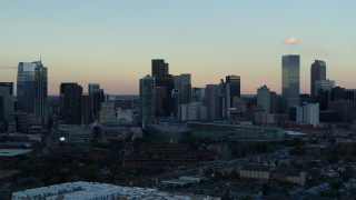 DX0001_001570 - 5.7K stock footage aerial video of a pass of the city's skyline at sunset, Downtown Denver, Colorado
