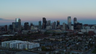 DX0001_001578 - 5.7K stock footage aerial video of a slow pass of the city's downtown skyline at sunset, Downtown Denver, Colorado