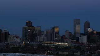 DX0001_001592 - 5.7K stock footage aerial video of the city's downtown skyscrapers by the convention center at twilight, Downtown Denver, Colorado