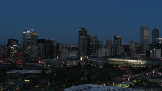 DX0001_001596 - 5.7K stock footage aerial video flyby the city's skyscrapers and convention center at twilight, Downtown Denver, Colorado