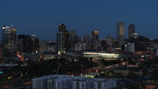 DX0001_001601 - 5.7K stock footage aerial video flyby the convention center and city skyline at twilight, Downtown Denver, Colorado