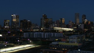 DX0001_001606 - 5.7K stock footage aerial video of the city skyline and convention center at twilight, Downtown Denver, Colorado