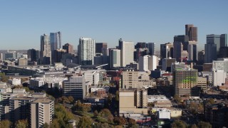 DX0001_001663 - 5.7K stock footage aerial video flyby the city's skyline seen from office and apartment buildings in Downtown Denver, Colorado