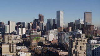 DX0001_001665 - 5.7K stock footage aerial video of the city's skyline, seen from office buildings in Downtown Denver, Colorado