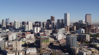 DX0001_001672 - 5.7K stock footage aerial video approach the city's skyline from office buildings, Downtown Denver, Colorado