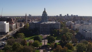 DX0001_001682 - 5.7K stock footage aerial video fly away from the Colorado State Capitol, Downtown Denver, Colorado