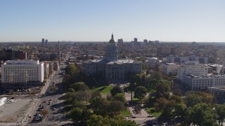 DX0001_001685 - 5.7K stock footage aerial video of flying by the Colorado State Capitol, Downtown Denver, Colorado