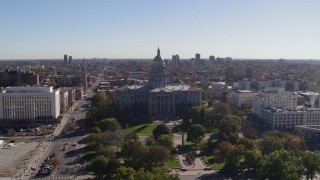DX0001_001686 - 5.7K stock footage aerial video of passing by the Colorado State Capitol, Downtown Denver, Colorado