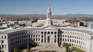 DX0001_001698 - 5.7K stock footage aerial video flyby and away from the Denver City Council building, Downtown Denver, Colorado