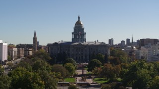 DX0001_001706 - 5.7K stock footage aerial video of passing by the Colorado State Capitol during ascent, Downtown Denver, Colorado