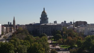 DX0001_001710 - 5.7K stock footage aerial video flyby the Colorado State Capitol during slight ascent, Downtown Denver, Colorado