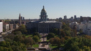DX0001_001711 - 5.7K stock footage aerial video of the Colorado State Capitol during descent to stationary view, Downtown Denver, Colorado