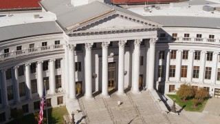 DX0001_001718 - 5.7K stock footage aerial video close-up view of front of the Denver City Council in Downtown Denver, Colorado