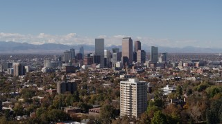 DX0001_001721 - 5.7K stock footage aerial video of the city's skyline with mountains in the background, Downtown Denver, Colorado