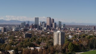 DX0001_001735 - 5.7K stock footage aerial video the city's skyline, with the mountains in background, Downtown Denver, Colorado