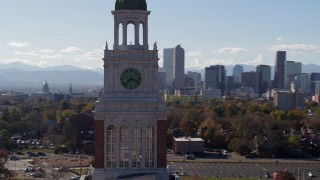 DX0001_001748 - 5.7K stock footage aerial video of orbiting a clock tower, Denver, Colorado
