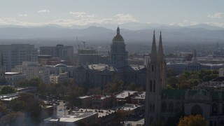 DX0001_001758 - 5.7K stock footage aerial video of the Colorado State Capitol seen while flying cathedral, Downtown Denver, Colorado