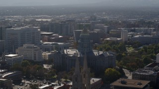DX0001_001759 - 5.7K stock footage aerial video of the Colorado State Capitol seen while ascending by cathedral, Downtown Denver, Colorado