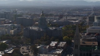 DX0001_001761 - 5.7K stock footage aerial video of the Colorado State Capitol and Denver City Council during descent, Downtown Denver, Colorado