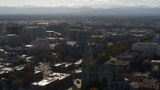 DX0001_001777 - 5.7K stock footage aerial video of Colorado State Capitol, Denver City Council and cathedral in Downtown Denver, Colorado