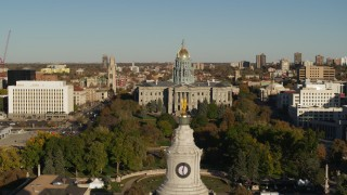 DX0001_001791 - 5.7K stock footage aerial video flyby the Colorado State Capitol top of Denver City Council in Downtown Denver, Colorado