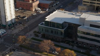 DX0001_001798 - 5.7K stock footage aerial video approach and flyby a police crime lab in Downtown Denver, Colorado