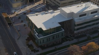 DX0001_001799 - 5.7K stock footage aerial video orbit a police crime lab in Downtown Denver, Colorado