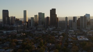 DX0001_001818 - 5.7K stock footage aerial video of the skyline at sunset, Downtown Denver, Colorado