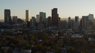 DX0001_001819 - 5.7K stock footage aerial video of the city skyline at sunset, Downtown Denver, Colorado