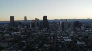 DX0001_001832 - 5.7K stock footage aerial video of the city skyline at sunset, Downtown Denver, Colorado