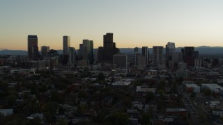 DX0001_001843 - 5.7K stock footage aerial video flyby the city skyline at sunset, Downtown Denver, Colorado