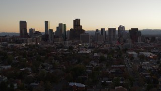 DX0001_001857 - 5.7K stock footage aerial video of the city's skyline at sunset, Downtown Denver, Colorado