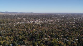 DX0001_001892 - 5.7K stock footage aerial video passing by Boulder, Colorado and surrounding neighborhoods