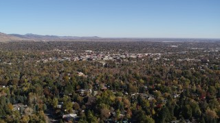 DX0001_001894 - 5.7K stock footage aerial video of a wide view of Boulder, Colorado and surrounding neighborhoods while descending