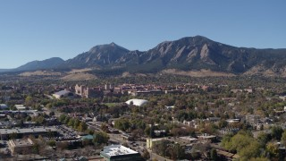 DX0001_001925 - 5.7K stock footage aerial video of the University of Colorado Boulder, with Green Mountain in the background