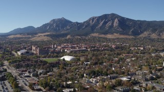 DX0001_001934 - 5.7K stock footage aerial video of a reverse view of the University of Colorado Boulder, and Green Mountain in distance