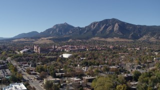 DX0001_001935 - 5.7K stock footage aerial video of the University of Colorado Boulder, and Green Mountain in distance, while descending