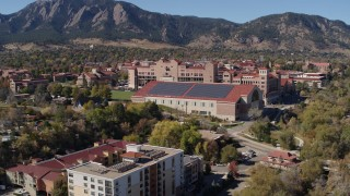 DX0001_001936 - 5.7K stock footage aerial video of part of the University of Colorado Boulder campus