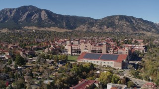 DX0001_001937 - 5.7K stock footage aerial video of a reverse view and flyby of part of the University of Colorado Boulder campus