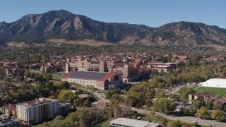 DX0001_001938 - 5.7K stock footage aerial video flyby of part of the University of Colorado Boulder campus