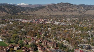 DX0001_001952 - 5.7K stock footage aerial video of a view of the mountain town of Boulder, Colorado