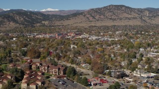 DX0001_001953 - 5.7K stock footage aerial video of passing the mountain town of Boulder, Colorado